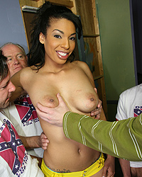 Desiree Diamond - Ebony babe gets gangbanged by rednecks and bukkake